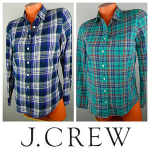 Bundle J CREW 4 Small SHIRT TOP Teal Blue PLAID